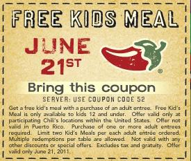 Kids Eat FREE @ Chilis