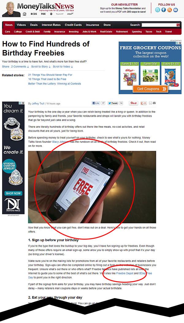 Freebie Depot Featured by Money Talks News