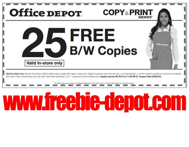 Office depot freebies