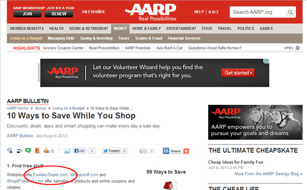Freebie Depot Featured by AARP Bulletin
