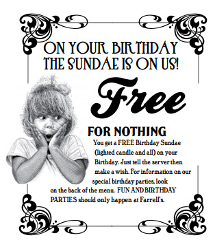 FREE BIRTHDAY STUFF – Farrell's Ice Cream Parlour
