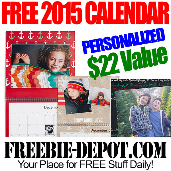FREE Personalized Photo Wall Calendar – FREE 2015 Calendar with Holidays – FREE Christmas Gift