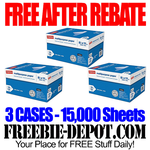 Free After Easy Rebate 3 Cases Multi Purpose Copy Paper