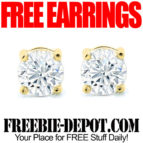 Free Pair of Earrings Studs with Swarovski Elements and Gold