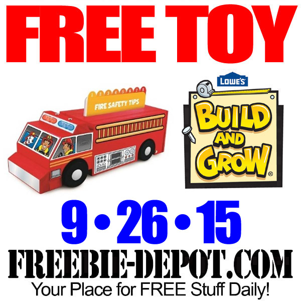 Free Lowe' s Toy Firetruck with Safety Cards for Fire Safety Month