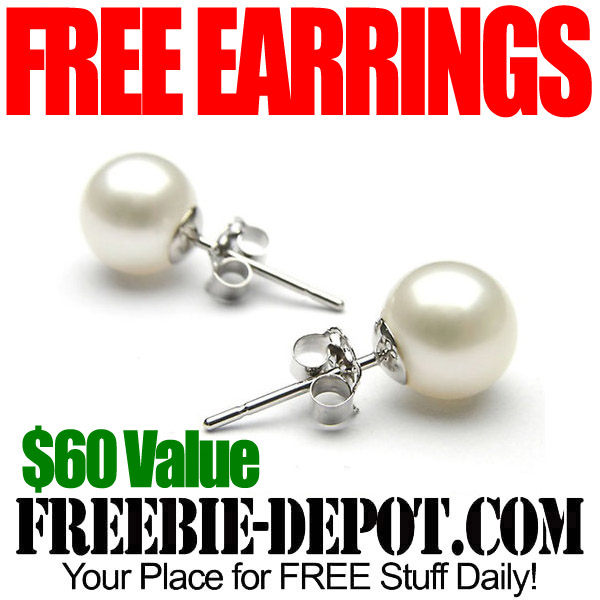 Free 18K White Gold Pearl Earrings