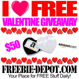 I Love FREE Valentine Giveaway – FREE $50 Amazon Gift Card – Ends 2/14/16