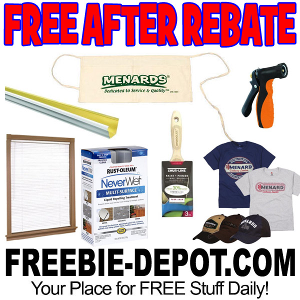 Menards has quite a few Free after Rebate items. Remember, if you purchase a Free after rebate item, you will need to be purchasing at least $10 in non-rebate items. Remember, if you purchase a Free after rebate item, you will need to be purchasing at least $10 in non-rebate items.