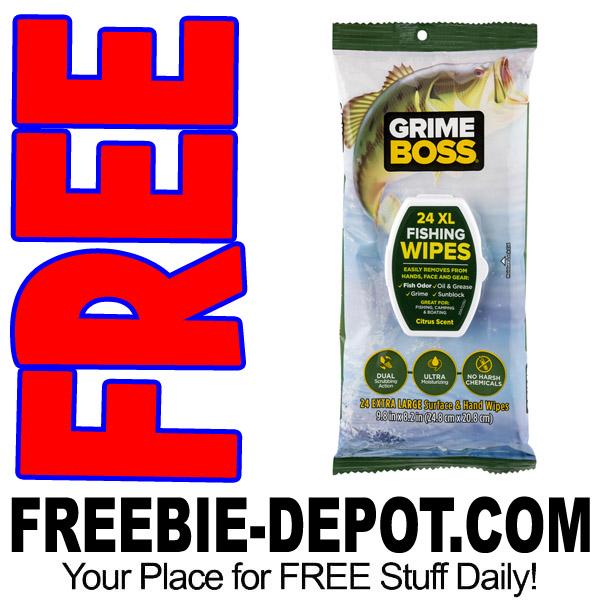Free sample grime boss fishing wipes freebie depot for Free fishing samples 2017