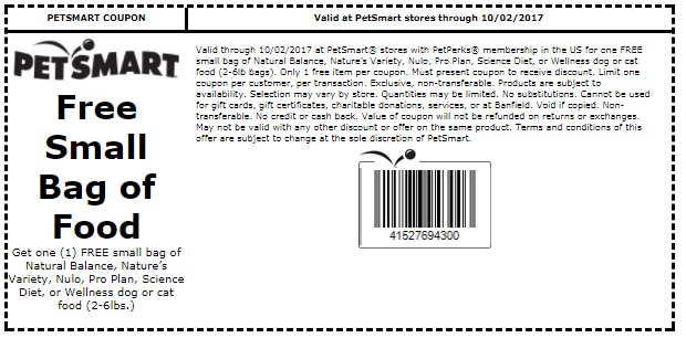 Natural Balance Dog Food Coupons >> FREE Bag of Dog or Cat Food at PetSmart – Exp 10/2/17 | Freebie Depot