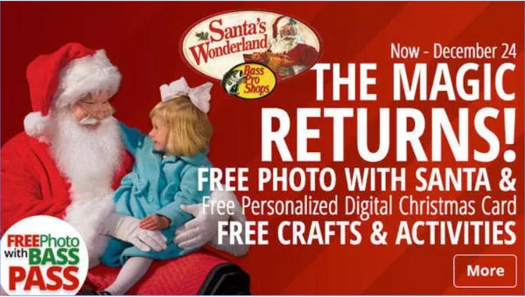 FREE Santa's Wonderland Christmas Event at Bass Pro Shops – Thru 12/24/17