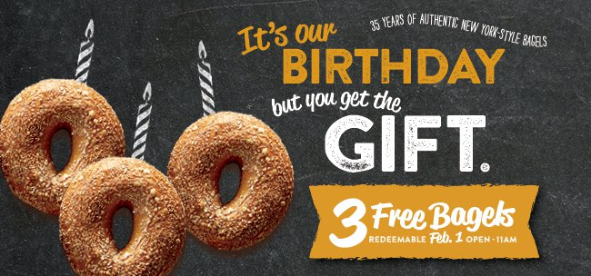 3 FREE Bagels at Brueggers on 2/1/18