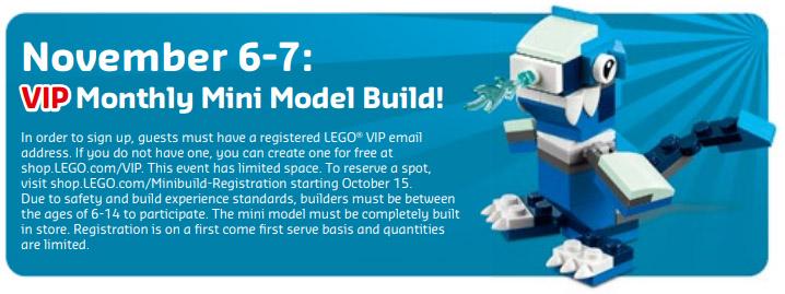 FREE LEGO Mini Model Build – Blue Dragon – 11/6/18 & 11/7/18 – Registration Starts 10/15/18
