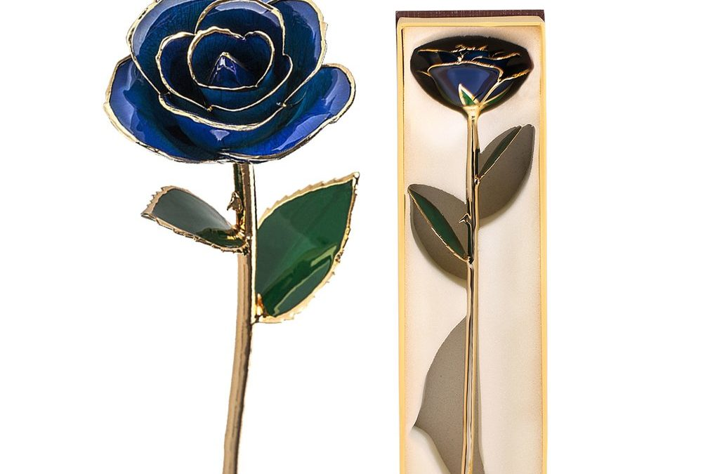 24K Gold Dipped Blue Long Stem Rose ONLY $7.99 Was $19.99