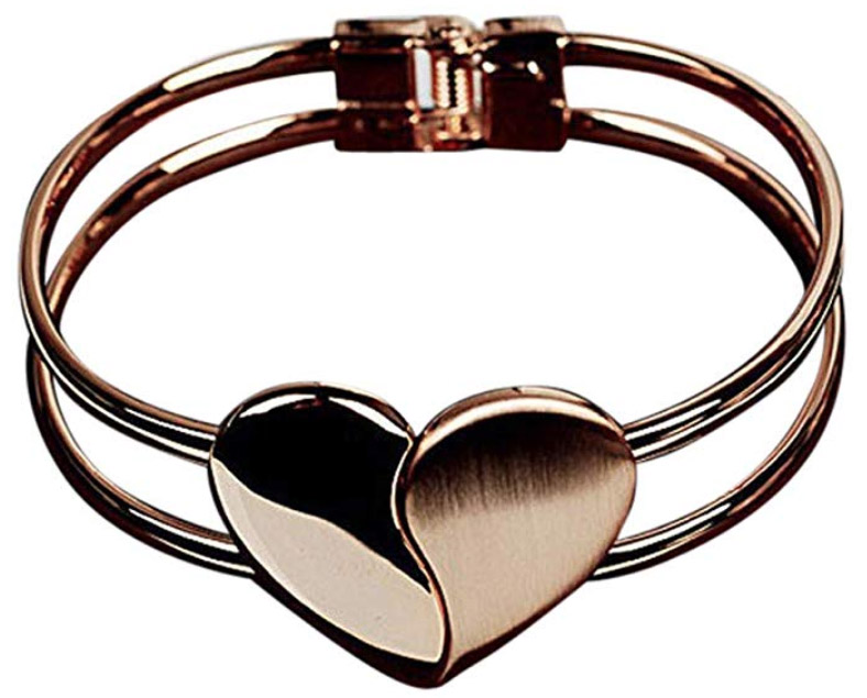 Gold Heart Bangle Bracelet ONLY $2.80 Was $13.99