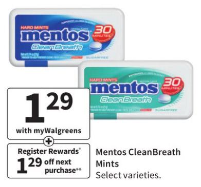 FREE Mentos CleanBreath Mints @ Walgreens thru 6/5/21